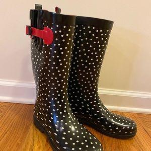 Capellini polka dot rain boots women's 9